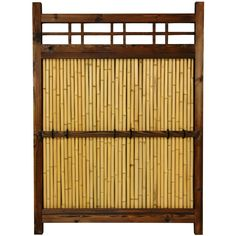 Japanese bamboo-panel garden fence Lacquered wood frame in dark walnut stain