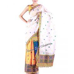 Assam Silk orange Mekhela and raw silk white Chadar