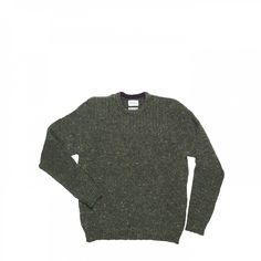 Military inspired crew sweater made of melange Donegal wool. Features chest rib details and elbow pathces in contrast colour. 100% pure new wool from UK. Made in Europe. - Norse Projects