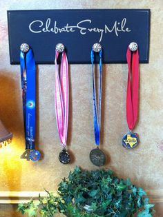 """Maybe a """"Celebrate Every Victory"""" to cover sports and academics? Crafty Craft, Crafty Projects, Race Medal Displays, Medal Rack, Running Medals, Sports Decor, Kids Sports, The Ranch, Organizing Ideas"""