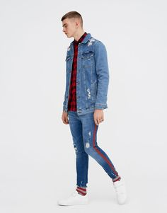 Pull N Bear, Ripped Denim, Mens Fashion, Shorts, Jeans, Men's Style, Jackets, Clothes, Collection