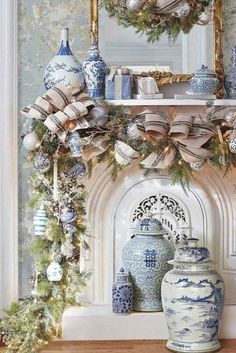 Learn How to Decorate a Spectacular and Cheap Christmas Garland overflowing with gorgeous Blue & White decor accents! Cheap Christmas, Blue Christmas, Christmas Home, Christmas Holidays, Victorian Christmas, Winter Holiday, Beautiful Christmas, Vintage Christmas, Southern Living Christmas
