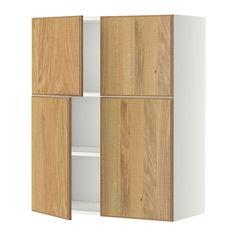 METOD Wall cabinet with shelves/4 doors - white, Hyttan oak veneer - IKEA