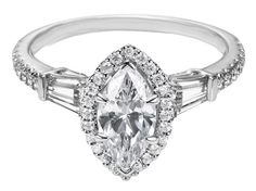 Marquise Diamond Halo Engagement Ring Baguette Side Stones - ES1154MQ
