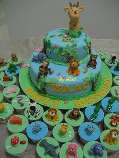 Zoo cupcakes - I love this! Baby Shower Giraffe, Baby Shower Niño, Baby Shower Cupcakes, Cupcake Party, Baby Shower Themes, Cupcake Cakes, Jungle Cupcakes, Jungle Cake, Jungle Theme Parties