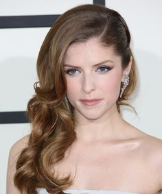 Anna Kendrick Hairstyle - Formal Half Up. Try on this hairstyle! http://www.thehairstyler.com/hairstyles/formal/half-up-long/curly/Anna-Kendrick-2014-grammys-hairstyle