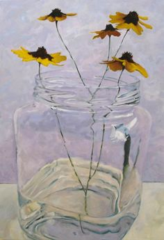 artist Carol Marine.  Love the Coreopsis in square jar