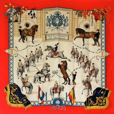 Authentic Hermes Equestrian Vintage Silk Jumping Hand Rolled Scarf #beautiful #equestrian #fashion