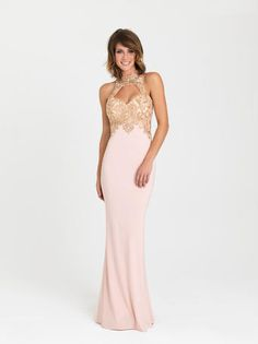 a3ee77a605 Madison James - 16-396 Dress in Shell Pink Fitted Prom Dresses