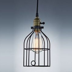Industrial Eddison Vintage 1-Light Wire Cage Lamp Guard Hanging Pendant Light