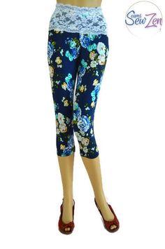 Gorgeous floral Capri leggings with feminine lace band