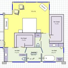 house plans with his and her bathrooms and closets - Yahoo Search Results