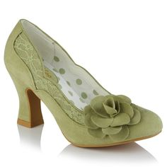 Add a touch of the latest shade to your wardrobe with new Chrissie. With pistachio faux suede accentuated by a delicate overlaid lace-on-satin band and matching flower corsage, and lined with a pretty polka dot, Chrissie matches perfectly to Ruby Shoo bag style Tirana. Ruby Shoo, Flower Corsage, Court Shoes, Pistachio, Fashion Bags, Block Heels, Kitten Heels, Peep Toe, Polka Dots