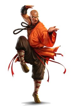 Male Human Monk in Orange - Pathfinder PFRPG DND D&D 3.5 5th ed d20 fantasy