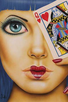 East Urban Home Queen of Hearts Graphic Art on Wrapped Canvas Size: 18 H x 12 W x D 48061921023672008 Canvas Art Prints, Canvas Wall Art, Rockabilly Art, 1920 Women, Heart Canvas, Modern Pop Art, Pop Art Girl, Face Sketch, Arte Pop