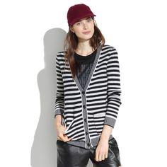 Madewell stripped cardigan Black and white stripped cardigan. Tagged size medium but fits more like size small due to washing. Made of 100% wool. Stripes are always a closet staple! Madewell Sweaters Cardigans