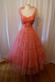 1950's Blush Pink Tulle Strapless Dress. Not my style, but very Hollywood....