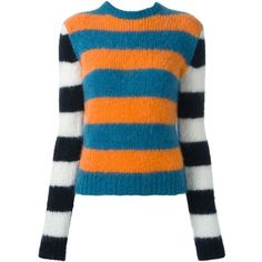 Max Mara Striped Sweater ($525) ❤ liked on Polyvore featuring tops, sweaters, blue, blue top, colorful sweaters, colorful tops, stripe top and stripe sweater