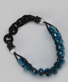 Take a look at this Black & Blue Oval Crystal Ladder Bracelet by LA Rocks on #zulily today!