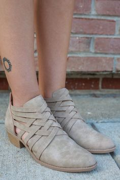 9d79550aa4c80 Almond Toe Strappy Accent Cut Out Ankle Booties Sochi-109 Almond