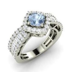 Rings - Dorothy - Aquamarine Ring in 14k White Gold with SI Diamond, VS Diamond (1.62 ct.tw.)