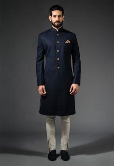Navy Long Bandhgala #Navy #Bandhgala #Sherwani #Ornamental #PocketSquare #accessories