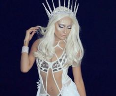 Happy Halloween my goal was to look like lady gaga from AHS if she were to be an ice queen Outfit styled by Outfit Pulled from & This amazing wig done by the one and only by desimakeup Ice Queen Costume, Queen Halloween Costumes, Ice Queen Makeup, Rave Outfits, Fashion Outfits, White Blonde Highlights, Halloween Fashion, Happy Halloween, Halloween Makeup