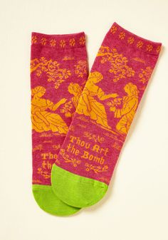 Bard Act to Follow Socks. With socks as bombeth as this pair, the rest of your outfit will have to be pretty stylin' to keep up! #pink #modcloth