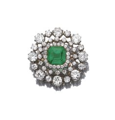 Emerald and diamond brooch, late 19th Century Centring on a square step-cut emerald in a border of single- and circular-cut diamonds, detachable brooch fitting.