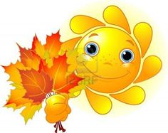 Illustration of Cartoon Character of Cute Sun giving autumn leaves vector art, clipart and stock vectors.