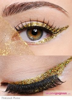 My recent obsession with glitter on eyelids has now morphed into a preoccupation with gold eyeliner. I mean, just look at these shots of gold eyeliner just sitting there, looking all gorgeous! Make Up Looks, Looks Cool, Gold Eyeliner, Eyeliner Pencil, Beauty Make-up, Beauty Hacks, Hair Beauty, Beauty Trends, Beauty Ideas