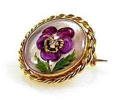 "Imperial Austrian 18K Gold Essex Crystal Pansy Brooch, $1250.00 /  7/8"" diameter"