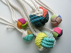 The monkey's fist knot is a sailor's classic, tied around a stone and used to add weight to rope and, on occasion, as a weapon. Its form has an enchanting