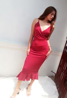 Cameron Wrap Frill Hem Dress – Heather Clothing Color Swatches, No Frills, Sheath Dress, Hemline, Size Chart, Dress Outfits, Slim, Formal Dresses, Clothing