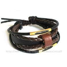 Jewelry bangle leather bracelet men bracelet women punk bracelet made of  leather and metal cuff bracelet  SZ-LH-0736. $8.00, via Etsy.