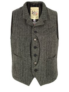 Monitaly-Mens-Hunting-Vest-Grey-Harris-tweed-Waistcoat