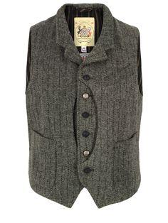 Monitaly-Mens-Hunting-Vest-Grey-Harris-tweed-Waistcoat