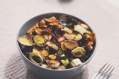 Vegetables porridge with baked leeks sweet potato and pumpkin