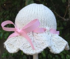 Sweet Hand Knit Baby Hat Scalloped Brim With by HollyLaneBabyHats, $32.00
