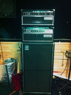 These circa early 80s MTI era SVT heads are ready to rock.   Arthur Seay guitarist for Unida and House of Broken Promises sent us over this pic of his awesome Ampeg rig.