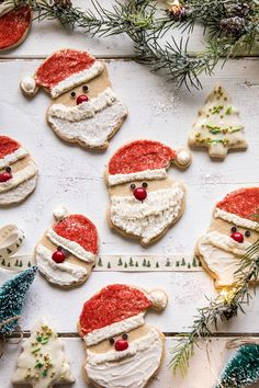 Chai Spiced Santa Cookies with White Chocolate Frosting. Tis the season for all things cookies, and I'm fully embracing every minute. Enter these cookies. Spiced with flavors of chai, soft, perfect… Noel Christmas, Christmas Desserts, Christmas Baking, Christmas Cookies, Holiday Baking, Christmas Gifts, Christmas Feeling, Christmas Gingerbread, Father Christmas