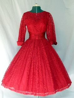 retro red. vintage prom dress I'd think it would look better sleeveless.