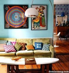 I like the Eastern feeling of the colors and textures. Living room idea perhaps.