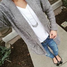 Easiest. Outfit. Ever. I just threw on a long cardigan over a white tee and jeans and am ready to go. This cardigan is the BP brand and...