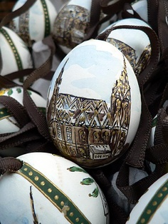 St. Stephen's Cathredral painted on an egg - Easter Markets in Vienna, Austria by veralebail.