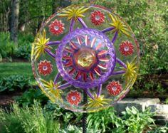 SET of 3 Glass Garden Flowers Yard Sun Catcher door GlassBlooms