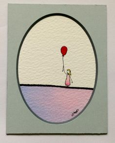 Lonely Girl Series Original Watercolour Illustration Red Balloon