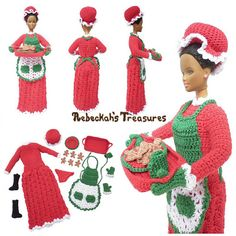 Mrs. Claus Fashion Doll - $6.00 by Rebeckah Ferger of Rebeckah's Treasures / Mrs. Christmas - 12 Crochet Round Ups of Christmas - Rebeckah's Treasures