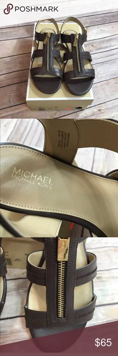 MICHAEL Michael Kors Brown Berkley Caged Sandals MICHAEL Michael Kors Women's Brown Berkley Caged Sandals  NEW IN BOX  SIZE 7  Add a sleek touch to your style with these MICHAEL Micheal Kors Berkley flat sandals which feature gladiator styling.  * Leather * Synthetic lining * Top zip closure * Open toe * Sling back * Imported  If you have any questions, please ask. :) MICHAEL Michael Kors Shoes Sandals