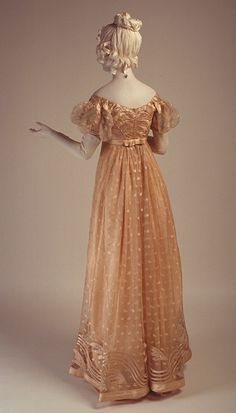 """Evening Dress, 1815. Probably should add a """"Lottery Winnings Wedding"""" board. This romance-starved MOB would love a costume party wedding, Jane Austen theme."""
